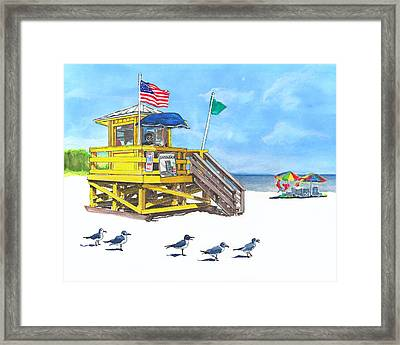 Siesta Key Beach Life Guard Stand Framed Print by Warren Day