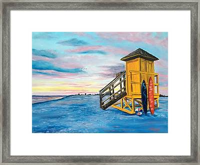 Siesta Key Life Guard Shack At Sunset Framed Print