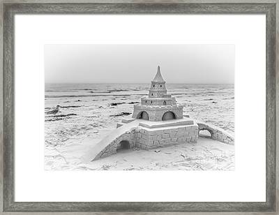 Siesta Key Sandcastle 2, Black And White Framed Print
