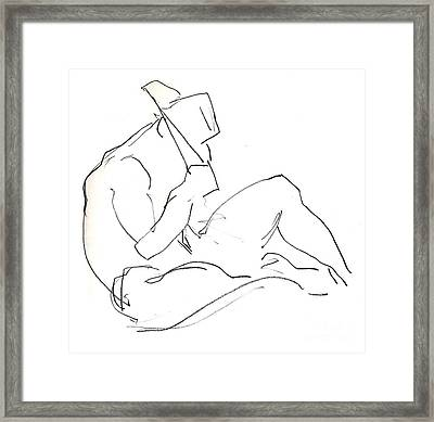 Framed Print featuring the drawing Siesta - Male Nude by Carolyn Weltman