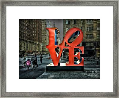 Framed Print featuring the photograph Sights In New York City - Love Statue by Walt Foegelle