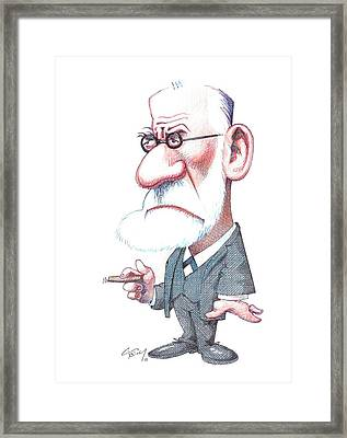 Sigmund Freud, Caricature Framed Print by Gary Brown