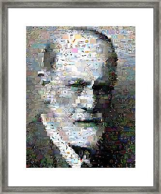 Sigmund Freud Mosaic Framed Print by Paul Van Scott