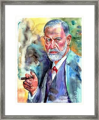 Sigmund Freud Painting Framed Print