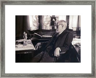 Sigmund Freud Seated In His Study Framed Print by Everett