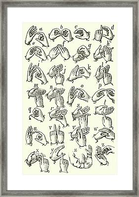 Sign Language Alphabet Framed Print by English School