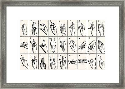Sign Language Alphabet Framed Print by Unknown