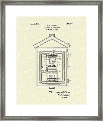 Signal Box 1924 Patent Art Framed Print by Prior Art Design