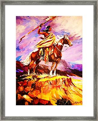 Signalling Sighting Of The Buffalo Herd Framed Print by Al Brown