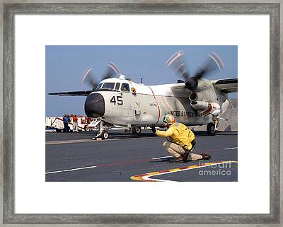 Signalman Gives The Launch Signal Framed Print