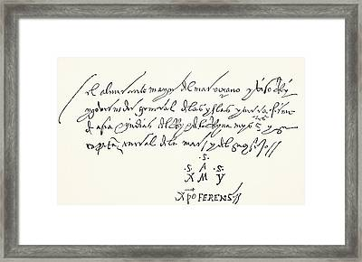 Signature At Foot Of An Autographed Framed Print