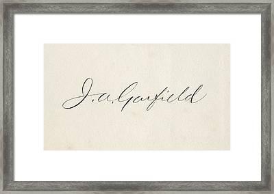 Signature Of James Abram Garfield 1831 Framed Print