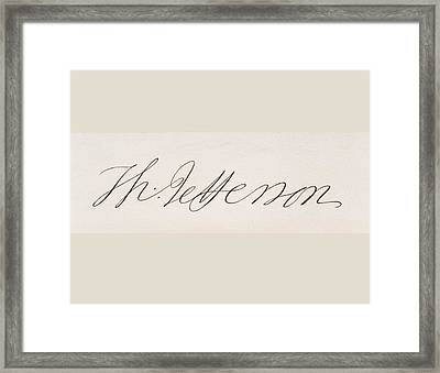 Signature Of Thomas Jefferson Framed Print