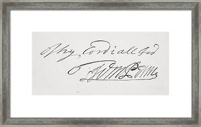 Signature Of William Penn 1644 To 1718 Framed Print