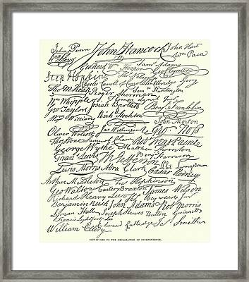 Signatures On The Declaration Of Independence Framed Print