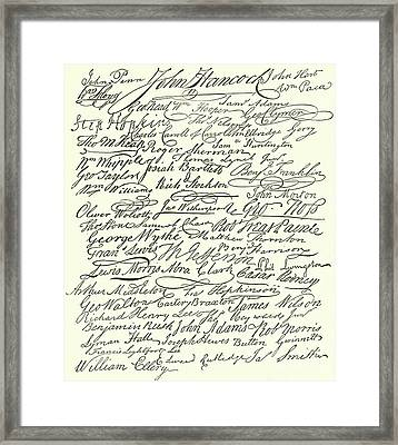 Signatures To The Declaration Of Independence Framed Print