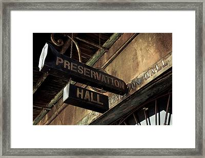 Signboard On A Building, Preservation Framed Print