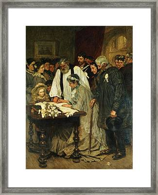 Signing The Marriage Register Framed Print by James Charles