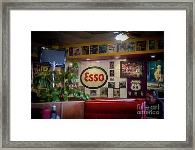 Signs At The Diner Framed Print by Darcy Michaelchuk