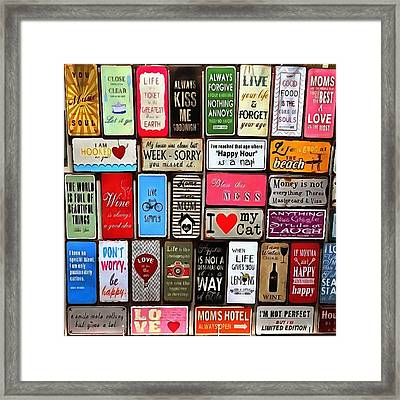 Signs Of The Time Inspirational Quote Mosaic Framed Print by Tracey Harrington-Simpson