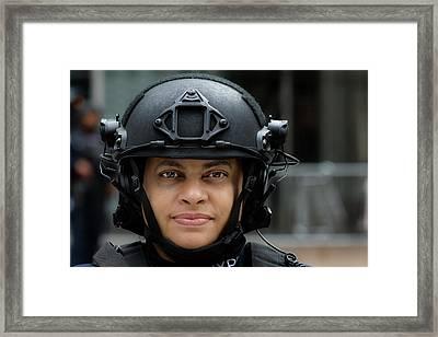 Sikh Day Nyc 2017 Female Anti Terrorist Police Officer Framed Print