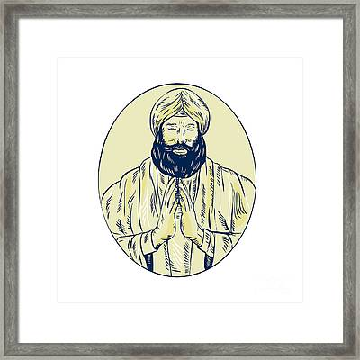 Sikh Priest Praying Front Oval Etching Framed Print by Aloysius Patrimonio