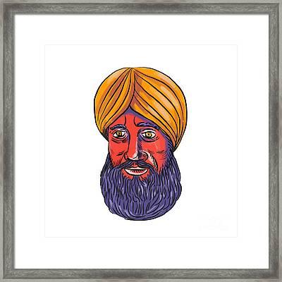 Sikh Turban Beard Watercolor Framed Print