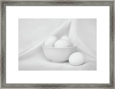 Silence - Eggs And Bowl - Still Life - Black And White Framed Print by Nikolyn McDonald