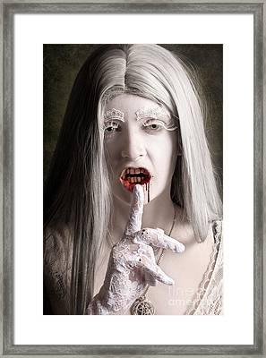 Silent Evil White Vampire Woman. Monster Secret Framed Print