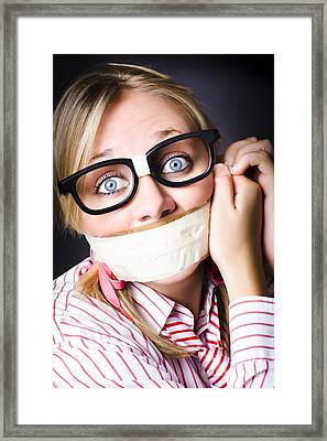 Silent Face Of Business Fear And Stress Framed Print