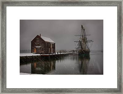 Silently The Snow Falls. Framed Print