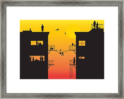 Silhouet City Framed Print by Lionel Emanuelson