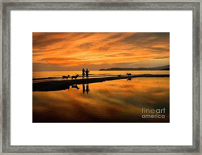 Silhouette And Amazing Sunset In Thassos Framed Print