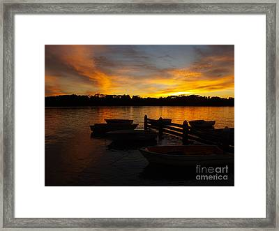 Silhouette Boats Framed Print
