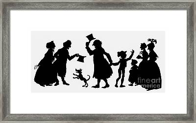 Silhouette Illustration From A Christmas Carol By Charles Dickens Framed Print by English School
