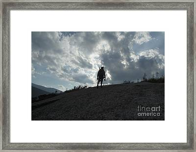 Silhouette Of A Hiker On Middle Sugarloaf Mountain - White Mountains New Hampshire Usa Framed Print by Erin Paul Donovan