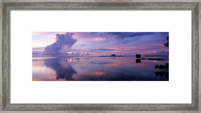 Silhouette Of A Hut In The Sea, Bora Framed Print by Panoramic Images