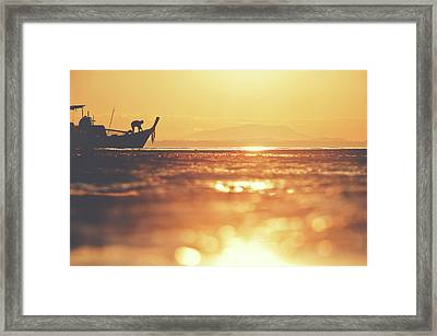 Silhouette Of A Thai Fisherman Wooden Boat Longtail During Beautiful Sunrise Framed Print