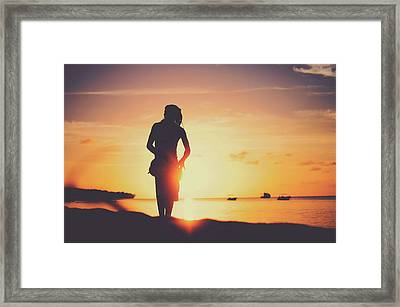 Silhouette Of A Young Rasta Man Playing Drums On The Beach During Beautiful Summertime Sunset Framed Print