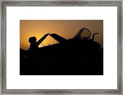 Silhouette Of An Ea-6b Prowler Framed Print by Giovanni Colla