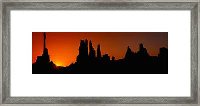 Silhouette Of Arizona Desert Rock Framed Print by Panoramic Images