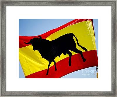 Silhouette Of Bull On Spanish Flag Framed Print