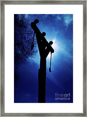 Silhouette Of Gallows At Night Framed Print