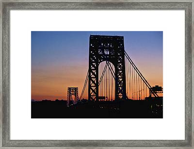 Silhouette Of George Washington Bridge At Sunset Framed Print by Ray Warren