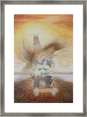 Silhouette Of Indian Life Framed Print by Brenda Baker