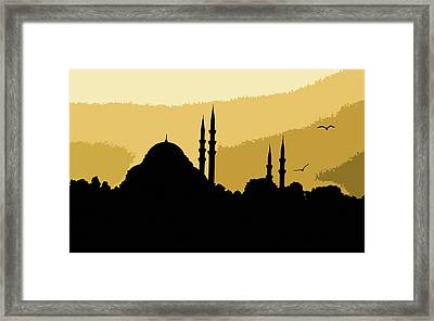 Silhouette Of Mosques In Istanbul Framed Print