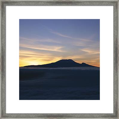 Silhouette Of Mount Kilimanjaro Framed Print by David Pluth