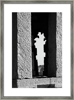Silhouette Of Pillars, Hampi, 2017 Framed Print by Hitendra SINKAR