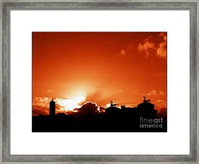 Silhouette Of Rome Against A Sunset Sky Framed Print
