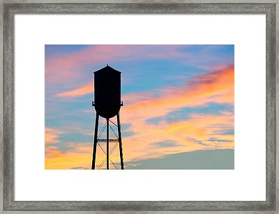 Silhouette Of Small Town Water Tower Framed Print by Todd Klassy